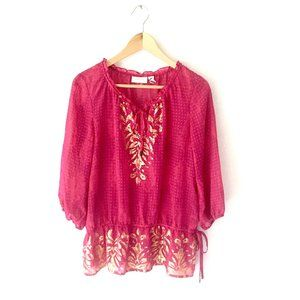 Chico's Pink and gold Boho Blouse top size S